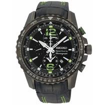 Reloj Seiko Sportura Aviator Piel Negro Cronógrafo Snae97