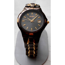 Reloj Elgin Caballero Dorado Negro Acero Mitad Precio Remate