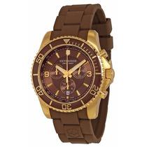 Reloj Victorinox Maverick Ss Cronógrafo Dorado Cafe 241692
