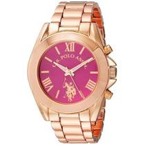 Reloj U.s. Polo Assn Usc40049 Dorado Rosa