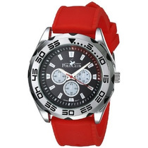 Reloj Polo Club Original Mod 1823a Rojo Y Plata Envio Gratis