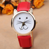 Reloj En Forma De Gato Kitty Dorado Color Rojo