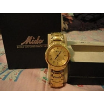 Elegante Y Muy Fino Reloj Mido Chapeado En Oro P/caballero
