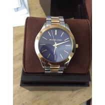 Michael Kors Mk3479 Reloj Unisex Azul Con Oro Y Plata