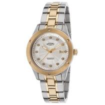 Reloj De Mujer Acero De Dos Tonos Carátula Plateada Rotary