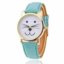 Reloj En Forma De Gato Kitty Dorado Color Menta