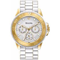 Reloj Bulova Marine Star Dorado Blanco Mujer 98n102