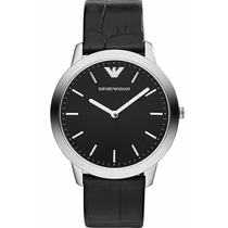 Reloj Emporio Armani Retro A. Inoxidable Piel Negra Ar1741