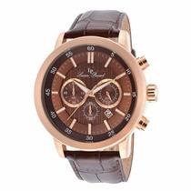 Reloj Lucien Piccard Monte Viso Dorado Piel Café 12011-rg-04