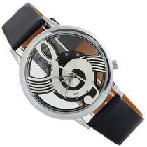 Reloj Unisex Analogo Transparente Clave De Sol (negro)
