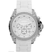 Reloj Michael Kors White Rubber & Steel Crystal Watch Mk562