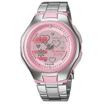 Reloj Casio Dama Poptone Lcf 10 Cronometro 5 Alarmas Acero