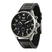 Reloj Mstr Aviator - Plateado/negro/cocodrilo Av103cb - Hm4