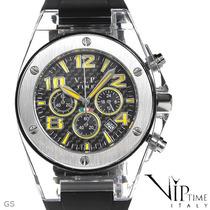 Reloj Vip Time Italy, Crono, Acero Y Policarbonato 4 Sp0