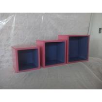 Set D 3 Cubos Repisa Flotantes De Lujo Con Forro D Colores