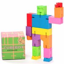 Cubebot Cubo De Madera Con Forma De Robot Chico