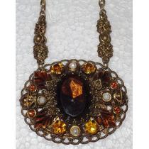 Antiguo Y Hermoso Collar De Cristal Para Dama En Filigrana