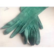 Finisimo Par De Guantes Antiguos De Piel Color Verde