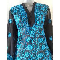 Blusa Bordada Azul