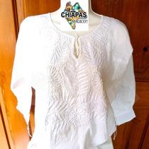 Hermosa Blusa Bordada De Chiapas, Mod. Consuelo. Talla Chica
