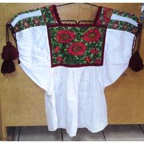 Blusa Tipica De Michoacan Artesanal Tejido Decorado A Mano