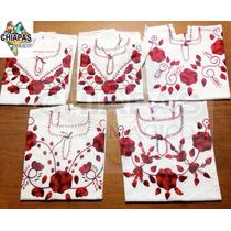 Blusas Bordadas De Chiapas (manta): Mod03 Rojo Original (xl)