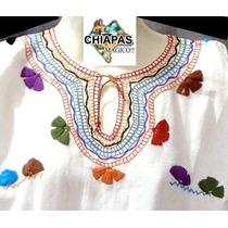Hermosa Blusa Bordada De Chiapas, Mod024: Multicolor (med)