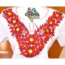 Hermosas Blusas Bordadas De Chiapas, Mod002: Roja (talla M)
