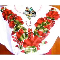 Hermosas Blusas Bordadas De Chiapas, Mod001: Rojo Con Verde