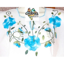 Blusas Bordadas De Chiapas (manta): Tres Flores Turquesa (m)