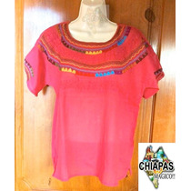 Blusa Bordada De Chiapas: Mod013 Rosa Mexicano (mediana)