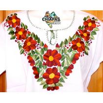 Hermosas Blusas Bordadas De Chiapas, Mod002: Rojo /verde (m)