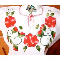 Blusas Bordadas De Chiapas (de Manta): Tres Flores Coral