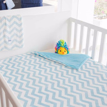 Cobertor Bebé Alaska Chevron Chevron Azul Blanco Baby Showe