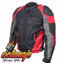 Chamarra Motociclista Con Protecciones Super Equipada Roja
