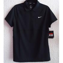 Playera Nike Tipo Polo Negra Para Dama