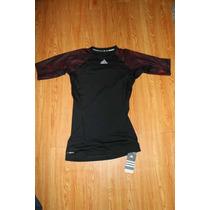 Playera Adidas Techfit Talla M Negra Con Rojo Clima Cool