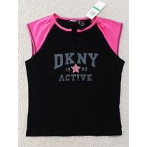 Camiseta Original Dkny Active Talla Grande, Negro, Nueva