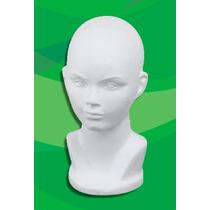 Busto, Cabeza De Unicel Con Razgos, Exhibidor, Maniquí,