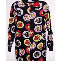 Angry Birds Mameluco Afelpado Con Pantuflas Talla L Junior