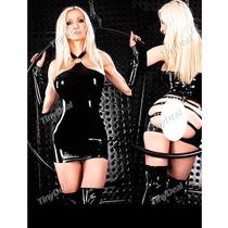 Sexy Vestido Negro Brilloso Con 4 Bucles En Trasero