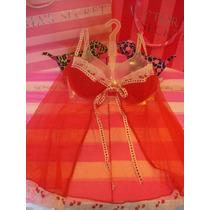 Victorias Secret The Red Mesh Bra Baby Doll 34c