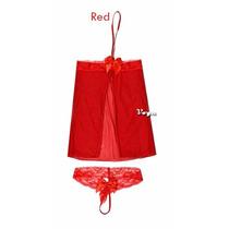 Lenceria Baby Doll Rojo Con Moños Talla Chica A Mediana