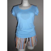 Fru Fru! Linda Pijama De Short, Azul Con Beige, Talla Med
