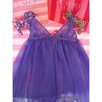 Victorias Secret The Glam Blue Night Mesh Baby Doll Sz M