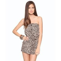 Forever 21 Animal Print Jumpsuit Saten Sz M