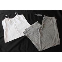 Old Navy Set Pijama Dama Gris/bco Soft Talla L