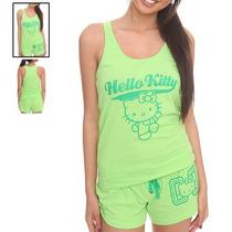 Hot Topic Pijama Hello Kitty Lime Green Varsity Sleep Set M