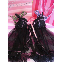 Victorias Secret Open Black Ruffle Push Bra Baby Doll 36c