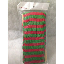 Mallas Delgadas Nylon Rayada Rojo Con Verde Niña
